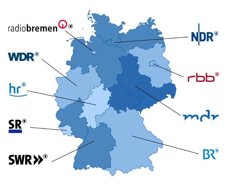 Karte mit den Landesrundfunkanstalten der ARD