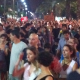 People protesting at night
