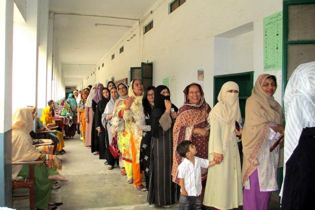 Women from Rawalpindi queued for their chance to have a say in Pakistan's elections
