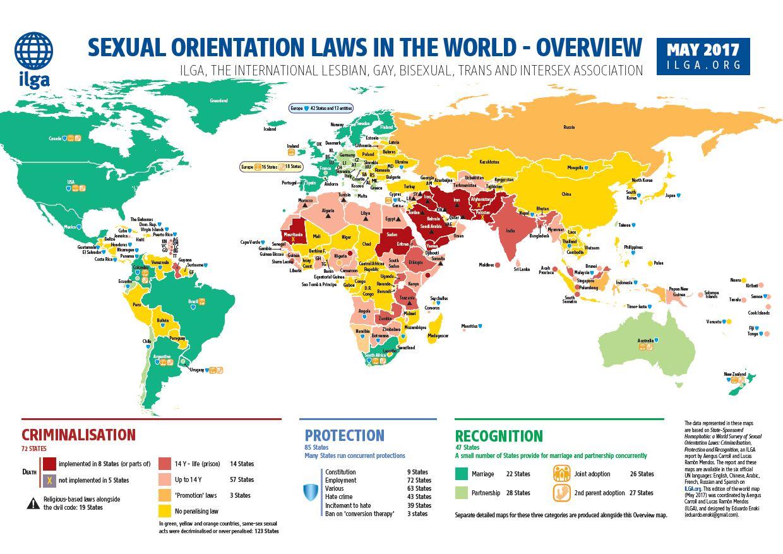 Weltkarte mit Übersicht zu Gesetzgebungen in Bezug auf sexuelle Orientierung
