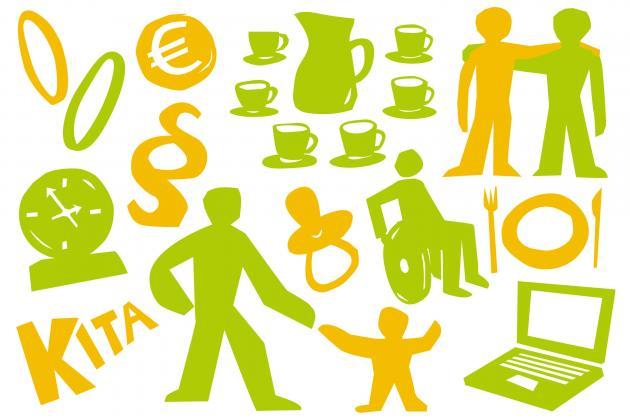 Stilisierte Symbole zum Thema Familie