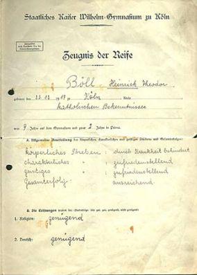 Abiturzeugnis von Heinrich Böll