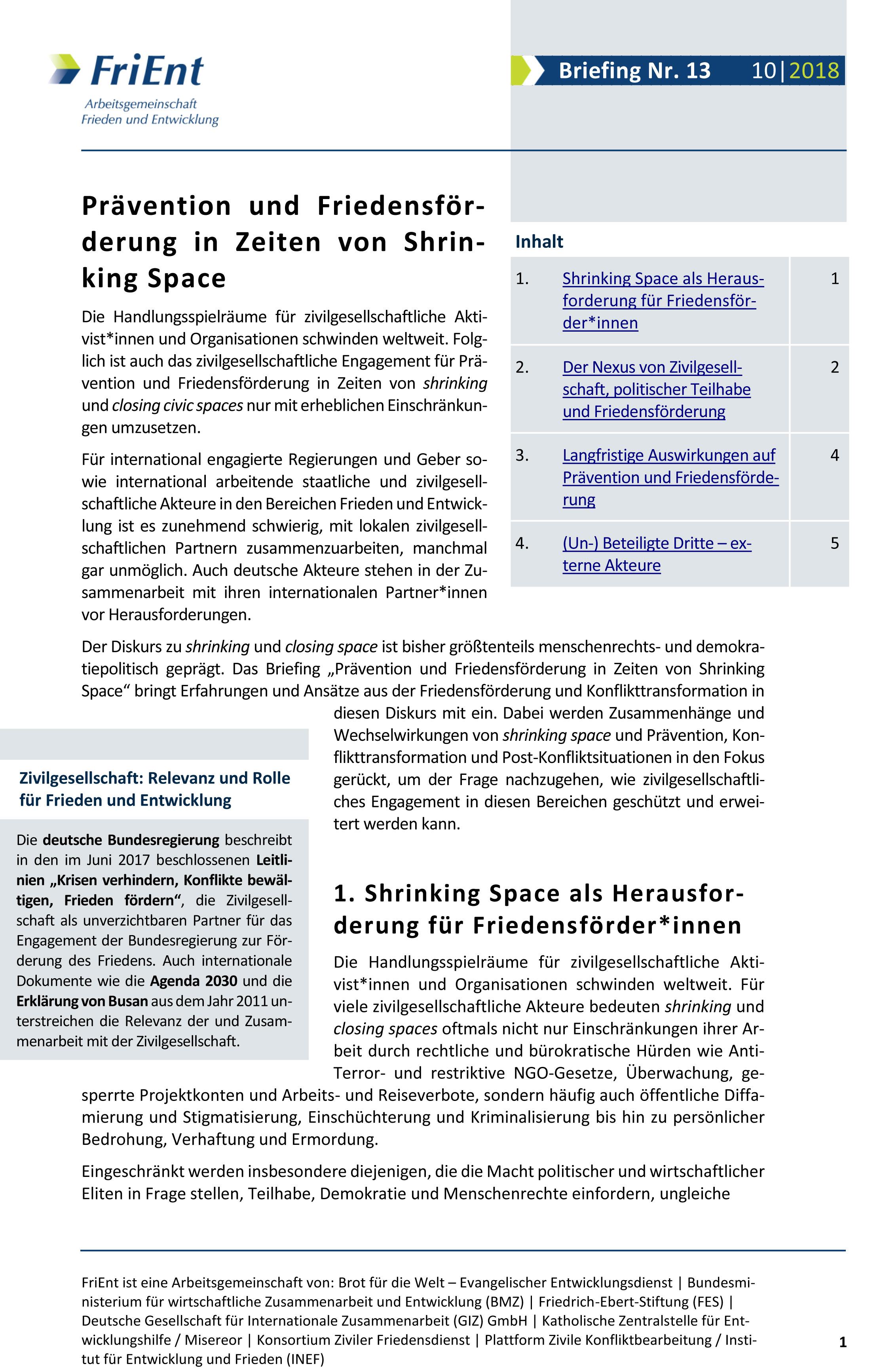 Prävention und Friedensförderung in Zeiten von Shrinking Space
